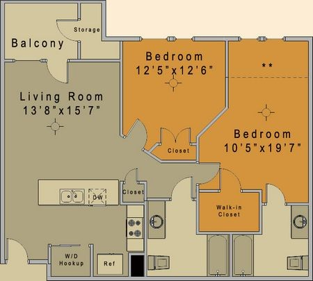968 sq. ft. to 1,015 sq. ft. Carrington 60% floor plan