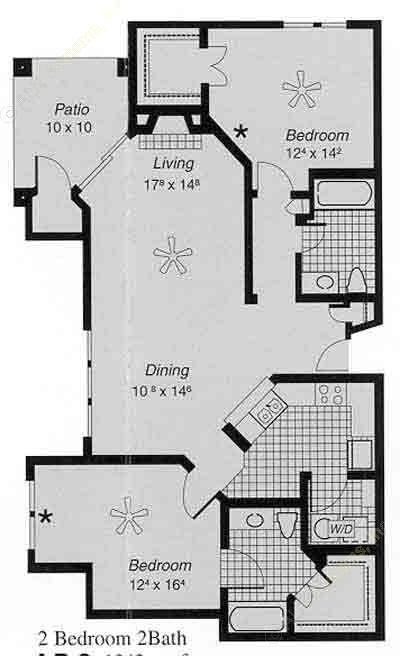 1,243 sq. ft. I  J floor plan