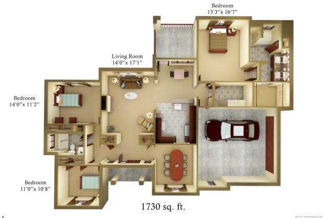 1,730 sq. ft. Cottage floor plan