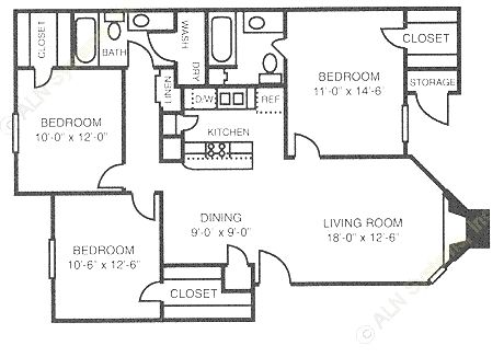 1,138 sq. ft. C1 floor plan