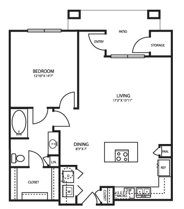 869 sq. ft. A3 floor plan
