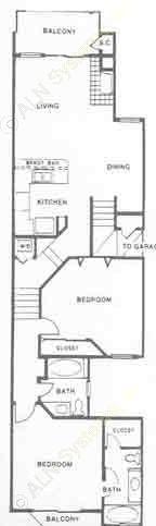 1,136 sq. ft. D floor plan