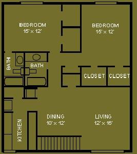 1,152 sq. ft. C2 floor plan