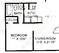 452 sq. ft. E-1 floor plan