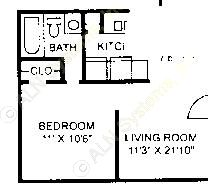 452 sq. ft. E-1 floor plan