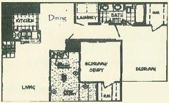 892 sq. ft. CORSAC floor plan