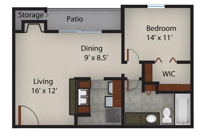 721 sq. ft. A2 floor plan