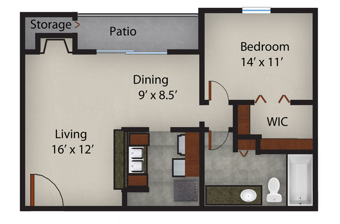 721 sq. ft. A2 floor plan