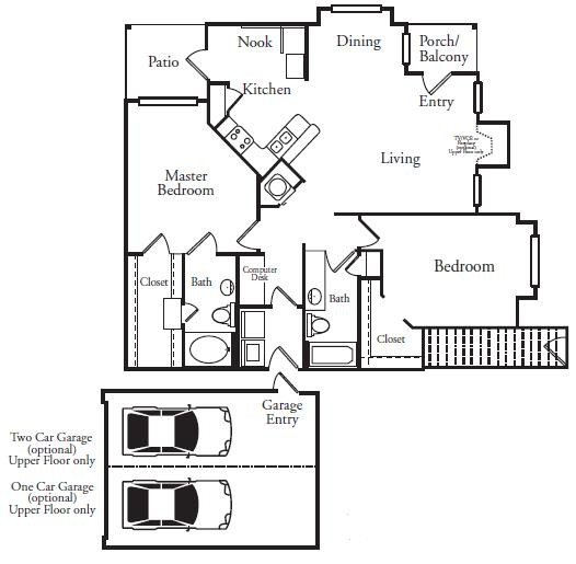 1,266 sq. ft. ATLANTIS floor plan