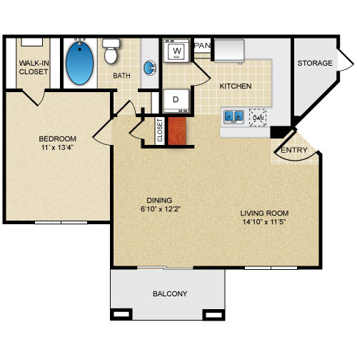 740 sq. ft. MELROSE floor plan