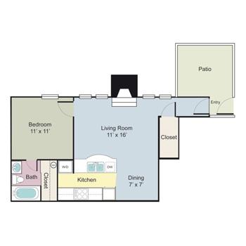 655 sq. ft. Darlington floor plan