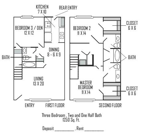 1,250 sq. ft. D floor plan
