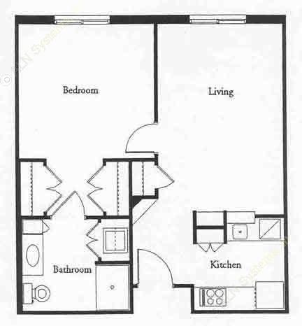 600 sq. ft. REGENT floor plan