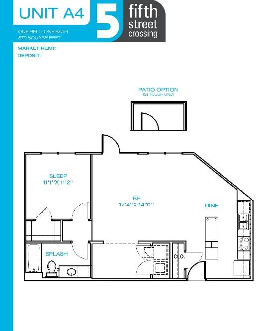 870 sq. ft. A4 floor plan