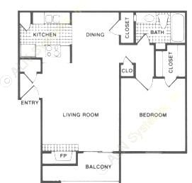 630 sq. ft. A2 floor plan