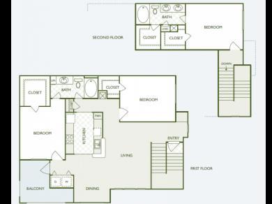 1,595 sq. ft. C1 floor plan