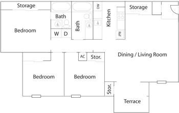 1,010 sq. ft. C-1 floor plan