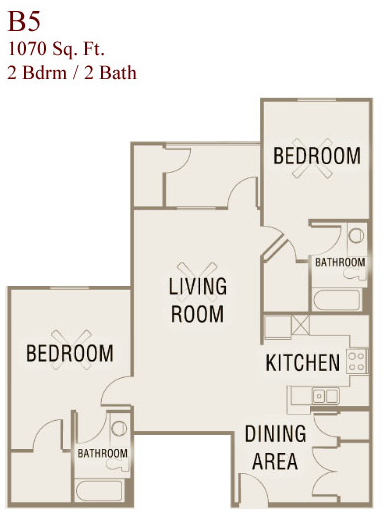 1,070 sq. ft. B5-50 floor plan