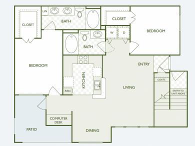 1,096 sq. ft. B3 floor plan