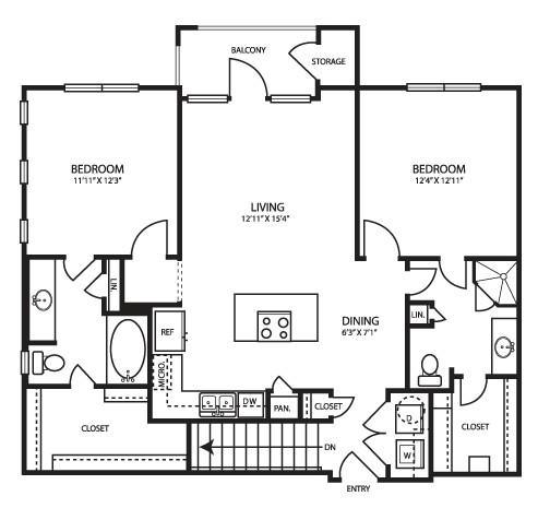 1,080 sq. ft. B1G floor plan