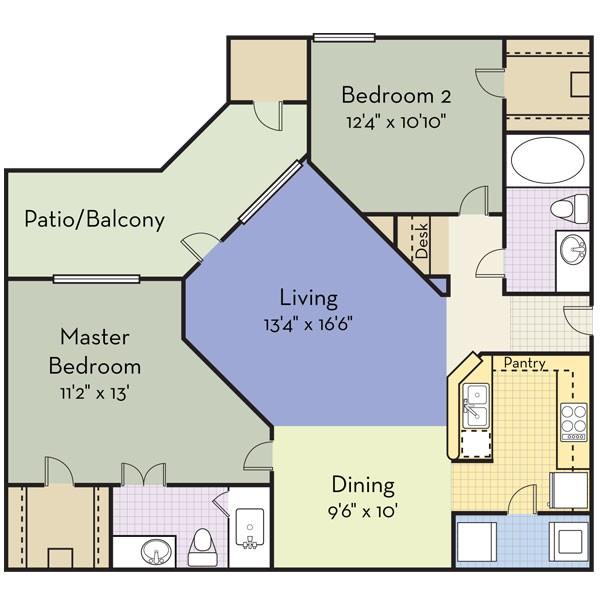 1,134 sq. ft. PIEDMONT floor plan