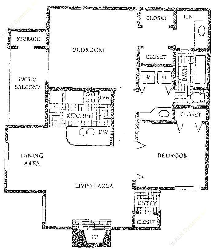 842 sq. ft. A3 floor plan