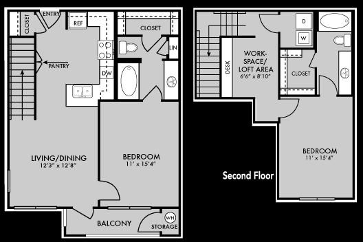 1,156 sq. ft. B2 floor plan
