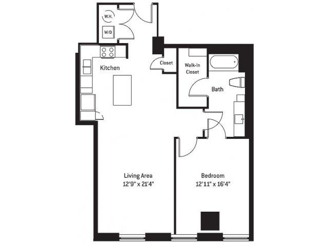 952 sq. ft. AK floor plan