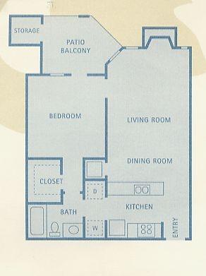 634 sq. ft. A4 floor plan