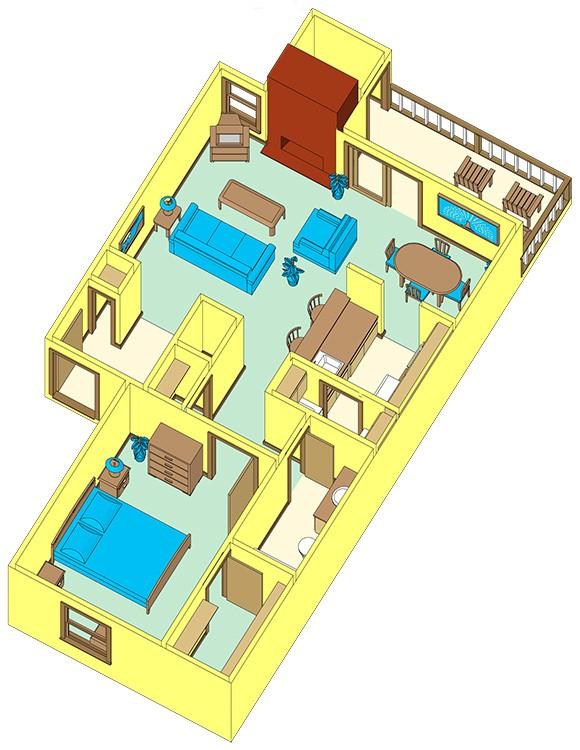 720 sq. ft. C floor plan