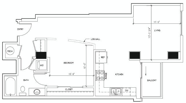 791 sq. ft. DALI floor plan