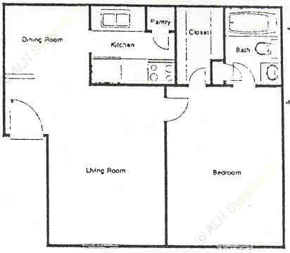 565 sq. ft. A floor plan