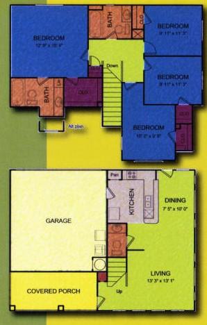 1,429 sq. ft. Cedar-MKT floor plan
