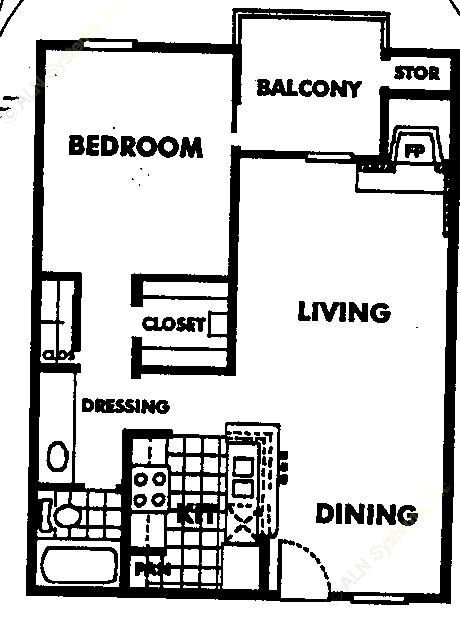 658 sq. ft. A2 floor plan