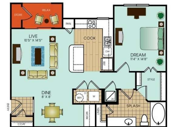 817 sq. ft. to 987 sq. ft. floor plan