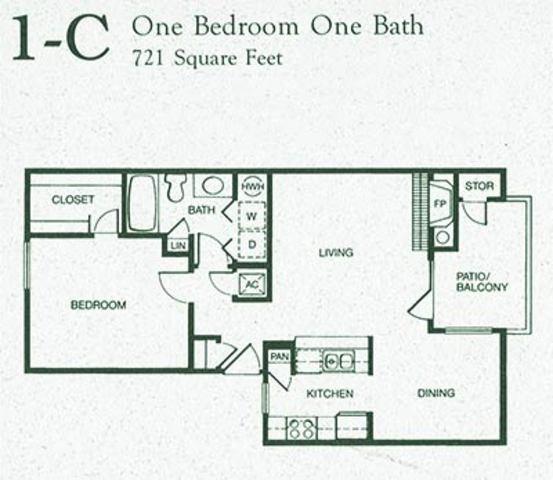 721 sq. ft. 1C floor plan
