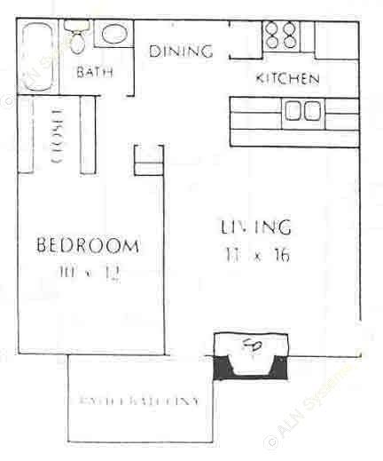 600 sq. ft. A3 floor plan