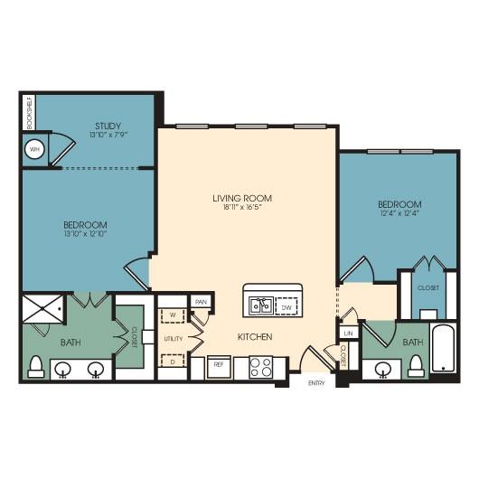 1,211 sq. ft. Vail 2/2 floor plan