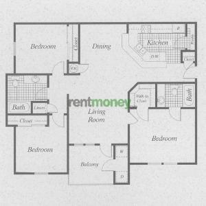 1,155 sq. ft. C/60 floor plan