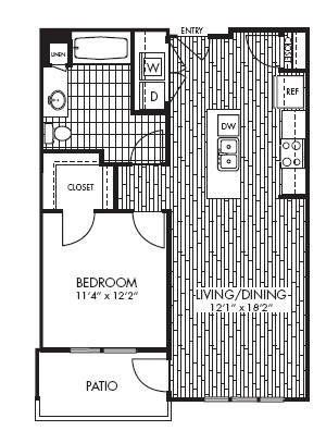 752 sq. ft. A1A floor plan