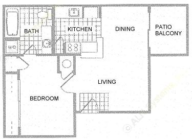 625 sq. ft. 1B floor plan