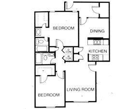 1,005 sq. ft. B3 floor plan