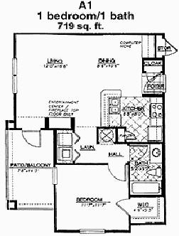 719 sq. ft. Champions floor plan