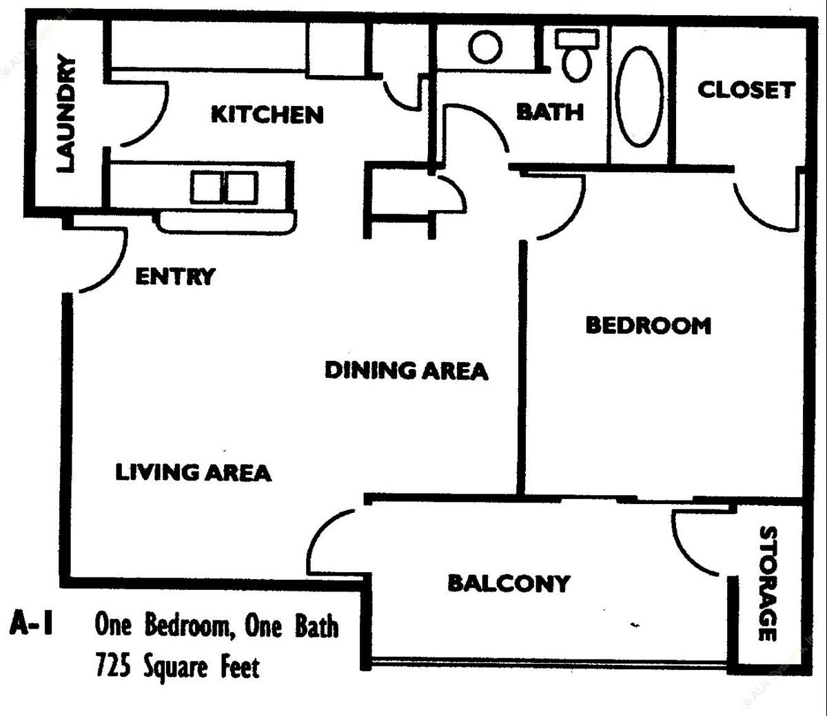 785 sq. ft. A1 floor plan