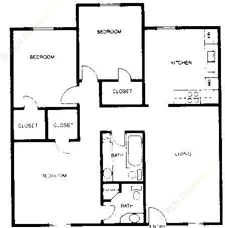 960 sq. ft. C1 floor plan