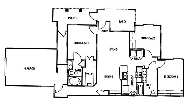 1,210 sq. ft. F3 floor plan