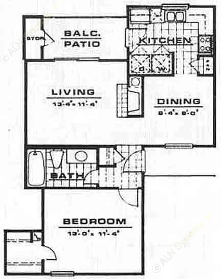 674 sq. ft. A1 floor plan