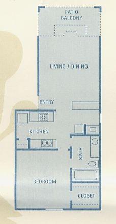 581 sq. ft. A2 floor plan