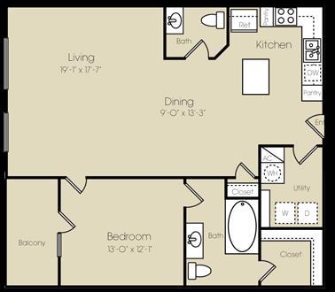 1,078 sq. ft. Manhattan floor plan