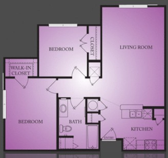 877 sq. ft. Thornton floor plan
